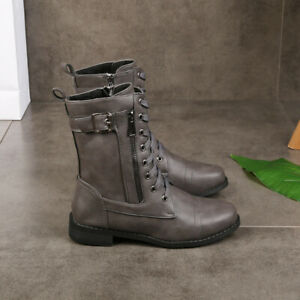 Womens Casual Round Toe Lace Up Mid Calf Boots Retro Buckle Riding Biker Shoes