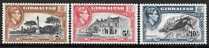 GIBRALTAR 1942-44 2, 5s & 10s P.13 values, mint hinged. SG 128b, 129b & 130a.
