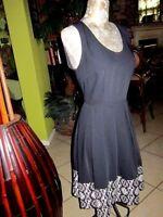 CHAUS NEW YORK!>Size S>Black Dress! BLACK&WHITE Border!>Well Made!