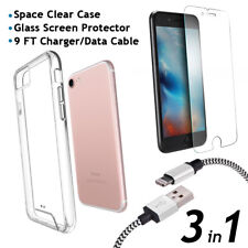 iPhone 8 Clear Case and Glass Screen Protector and 9FT Charger/Data Cable 3 in 1