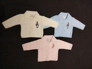 Gorgeous baby boy girl Dandelion peter rabbit blue ,white,pink collar cardigan