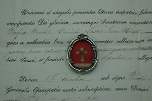 † DNJC TRUE CROSS RELIC STERLING RELIQUARY COA 1851 DOCUMENT CERTIFICATE FRANCE