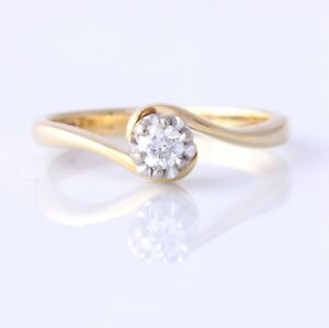 18ct Gold & Diamond Solitaire Twist Ring. Engagement. Gift Boxed. Size P