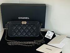 Chanel Black Caviar Boy Wallet On Chain Handbag Clutch Double Zipper WOC Tags