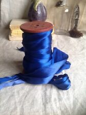 Vintage Satin Tape, Glossy Blue Ribbon 5m & VIP Gift Wrapping Old New Stock