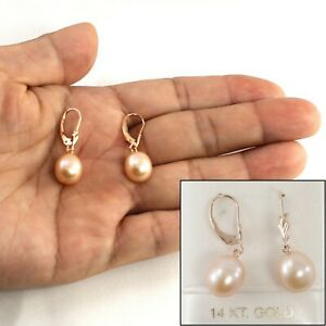 Pink Cultured Freshwater Pearl Drop Earrings in 14k Rose Gold TPJ