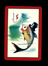 1 Playing Swap Card US Lithograph Blank Back - Fish Tuxedo Top Hat Hook Worm