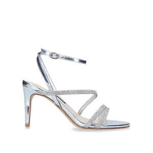 Nine West Dana Silver Strappy High Heel Sandal Shoes Size UK 4 EU 37 RRP £79