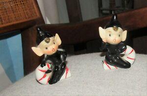 2 Vintage Christmas Pixie Elves Ceramicand Candy Cane DARLING Japan