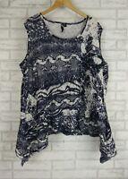 TS Tunic Top Sz L, 20 Blue, White Print