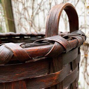 ANTIQUE SPLIT OAK WOVEN GATHERING BASKET 1800s