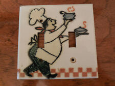 Adrienne Blum Enamel Double Light Switch Plate Cover, Chef