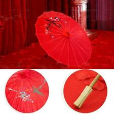 "Red Cloth Bamboo 21""a Chinese Oriental Umbrella Parasol Wedding Decor Hot"