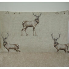 """20""""x12"""" Oblong Bolster Cushion Cover Stag Charcoal Grey Brown Glencoe Stags Deer"""