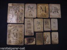 13 x BM Merkenthaler Monogramme, Kupfer Schablonen, Stencils, Patrons broder
