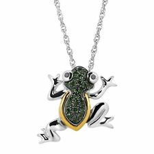 1/10 ct Green & Black Diamond Frog Pendant in Sterling Silver & 14K Gold