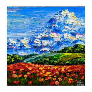 Original Oil Painting Beautiful Red Poppy Field Landscape Flowers, Impasto  4x4
