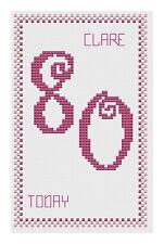 80th Anniversaire Rose Kit de cartes de point de croix par florashell