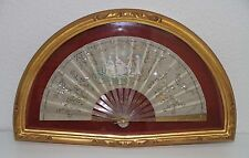 AB139 ANTIQUE FAN. CARVED STICKS. SILK AND LENTILS. WITH FRAME. 19th CENTURY