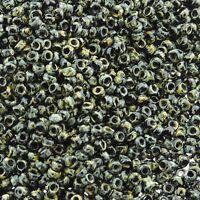 Miyuki Round Seed Beads Size 15/0 Picasso Smokey Black Matte  8.2GM 15-4511