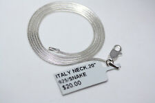 "New 925 Solid Sterling Silver 1 mm Snake Chain Necklace Italy 20"" Lobster Clasp"