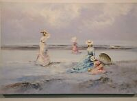 "Signed Marie Charlot Original Oil Cavas Painting Women On Beach App 36"" X 24"""