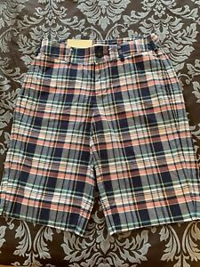 Merona Blue Coral Plaid Bermuda Length Walking Shorts Size 6 NWT Mrp$24.99