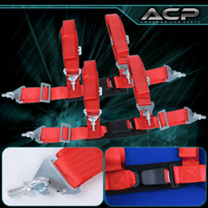 """2X 4 Point Red Nylon Racing Harness Safety Seat Belt 2"""" Buckle Strap Universal"""