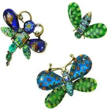 Sweet Romance Candy Glass Butterfly, Dragonfly, Bee Pins Set of 3 Blue-Green USA