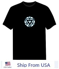 IRON MAN 3 Tony Stark Light Up LED Mark VI Arc Reactor Prop costume Shirt USA