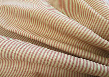 Oxford cloth red/tan stripe drapery weight decorator material by Spectrum