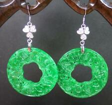 925 Sterling Silver Jade Earring Earrings Dangle 5 Bat Circle Flower 282794