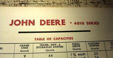 1963 JOHN DEERE 4010  Tractor AMOCO Oil USA Orig Lube Chart