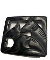 Black Bakelite 1950s Two Dog Brooch Lovely Confition Black