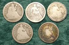 5 Liberty Seated Silver Half Dimes, Mixed Date & Condition, 5 Silver Coins