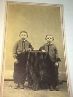 Antique Victorian American Fashion Cute Little Brothers Bridgewater VT CDV Photo