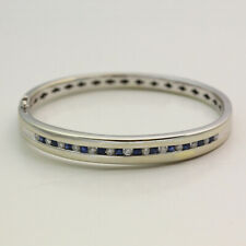 Solid 14K White Gold Diamond & Sapphire Bangle Bracelet - Size 6.5