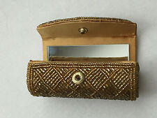 "Vintage Gold Lipstick Case Tiny Mirror Holder Box 3.5"" L x 1.5"" H"