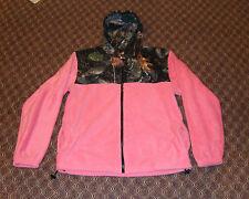 HOT Pink Camo Fleece Zippered Hoodie Camoflauge Hooded Sweatshirt Women's Large
