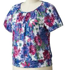 Cathy Daniels Womens Plus Blue Floral Banded Bottom Knit Top 1X 2X