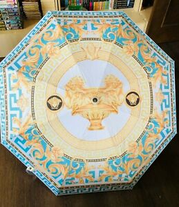 Umbrella Versace  Rain Accessory Protection Baroque Blue Print Novelty Gift