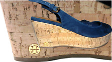 Tory Burch Rosalind Wedge Sandals Espadrille Navy Slingback Shoe Sz 6.5