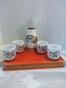 Sake Saki Set Carafe, 4 Cups Floral Transferware Design Vintage Japan