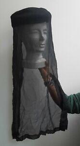 Bibi avec voile en mousseline noire de deuil ou cérémonie  ancien années 20/30