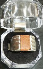 VINTAGE STERLING SILVER GOLDSTONE MEXICO RING Sz 11.5