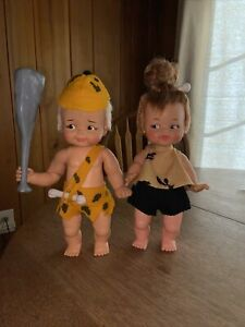"""Vintage Pebbles and Bam Bam Dolls 1960's Hanna Barbera Ideal Toys 11.5"""" & 12"""""""