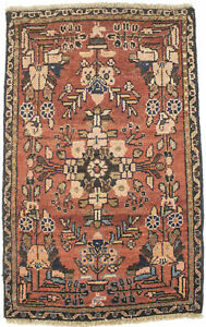 Vintage Floral Tribal Rusty Red 2X3 Small Entryway Oriental Rug Kitchen Carpet