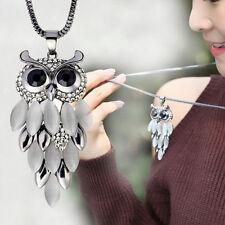 Long Sweater Chain Women Fashion #C Crystal Rhinestone Owl Pendant Necklace Gift