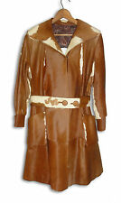 Vintage Ladies Cow / Calf Skin Coat - Brown & White - 1970's Size Small
