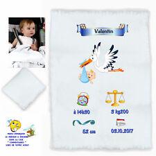 plaid couverture bébé personnalisé cadeau naissance prenom texte choix réf 04